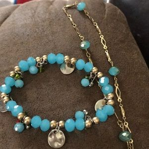Blue beaded long necklace and bracelet